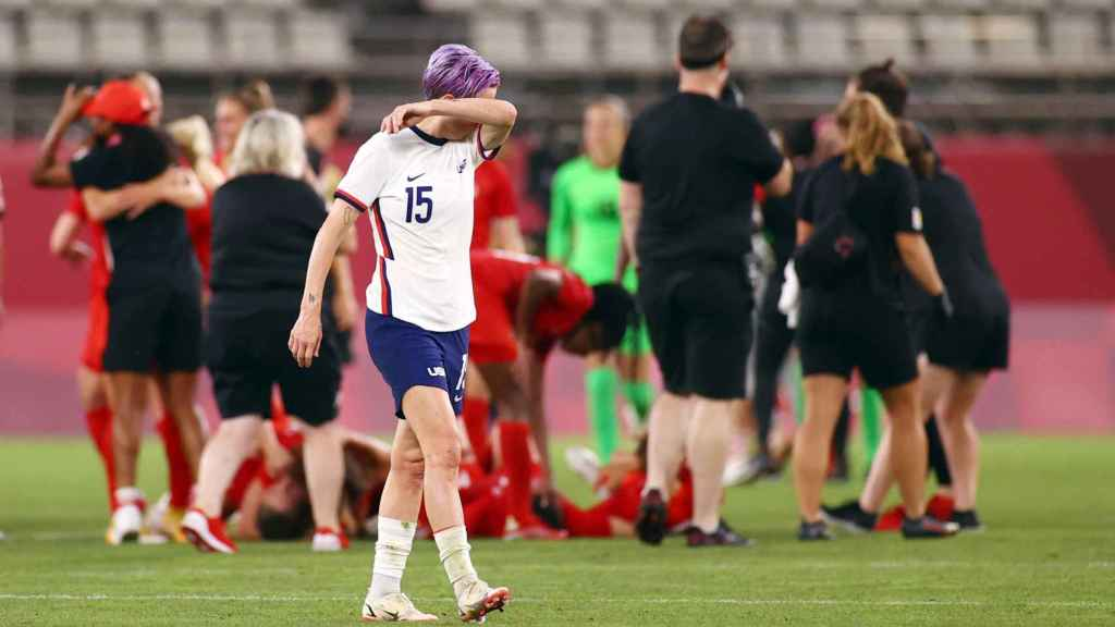 Megan Rapinoe's reaction after Canada's victory over the United States in Tokyo 2020