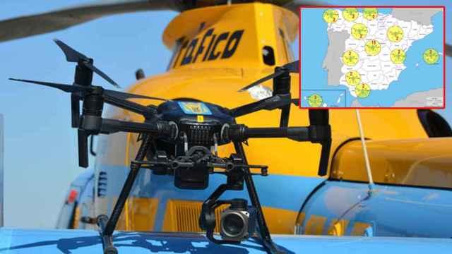 Uno de los 39 drones de la DGT y el mapa por donde vuelan.
