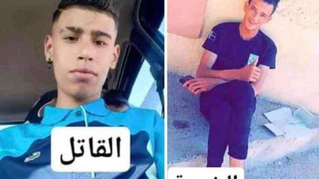 El supuesto homicida (1i) y la víctima (1d) en una imagen que se distribuyó por Argelia para denunciar lo sucedido.