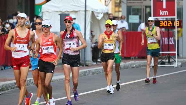 Marc Tur, en la prueba de los 50 kilómetros marcha de los Juegos Olímpicos de Tokio 2020