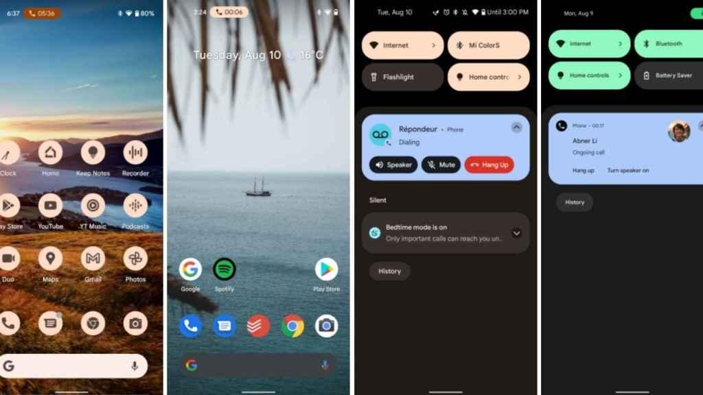 La app teléfono con su nueva cápsula de notificaciones