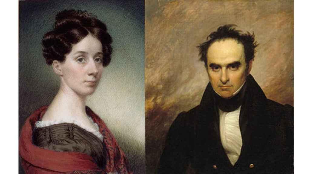 Autorretrato de Sarah Goodridge y retrato de Daniel Webster realizado por ella.