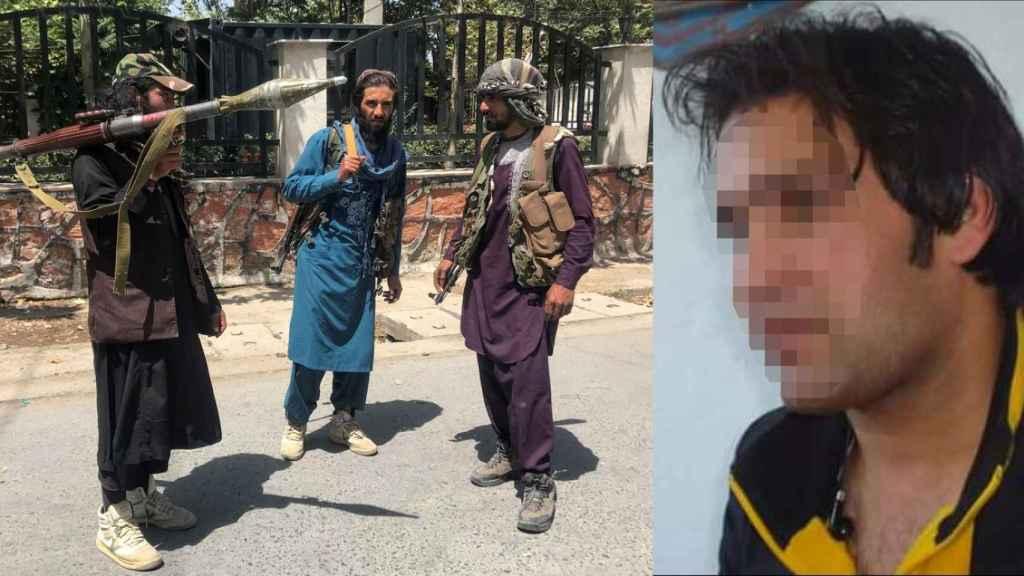 Wakil, que lleva nueve años trabajando para la Embajada española, junto a una imagen de los talibán que han entrado en Kabul.