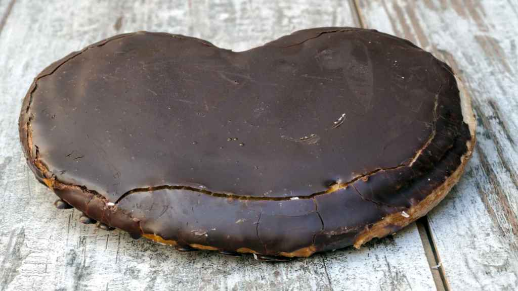 Una palmera de chocolate cargadita de azúcar.