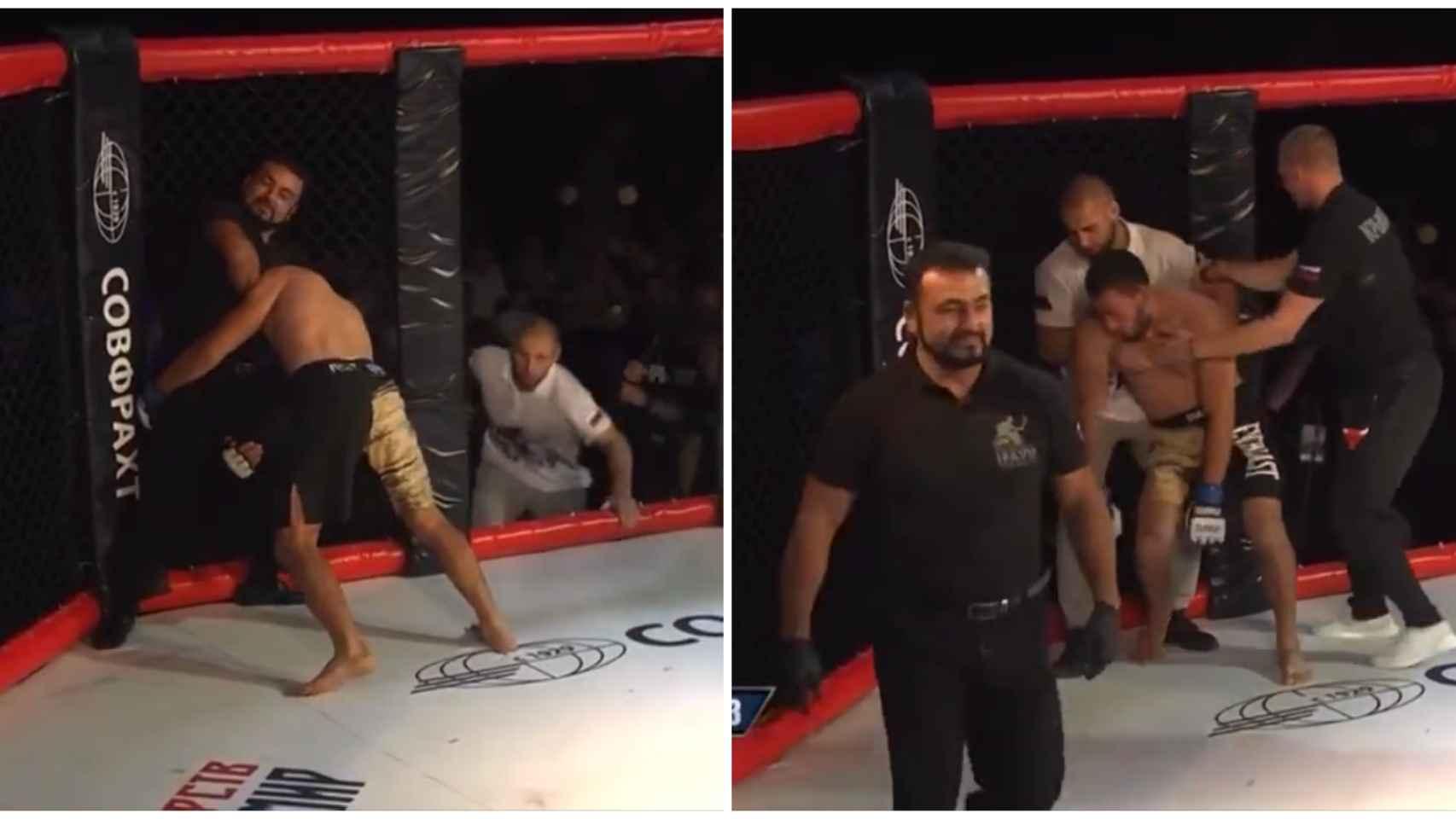 Un árbitro de MMA asfixia a un luchador hasta dejarle temblando