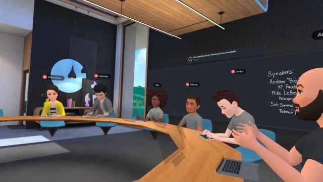 La sala de reuniones virtual de Horizon Workrooms, durante la demo ofrecida por Facebook en que participó D+I.
