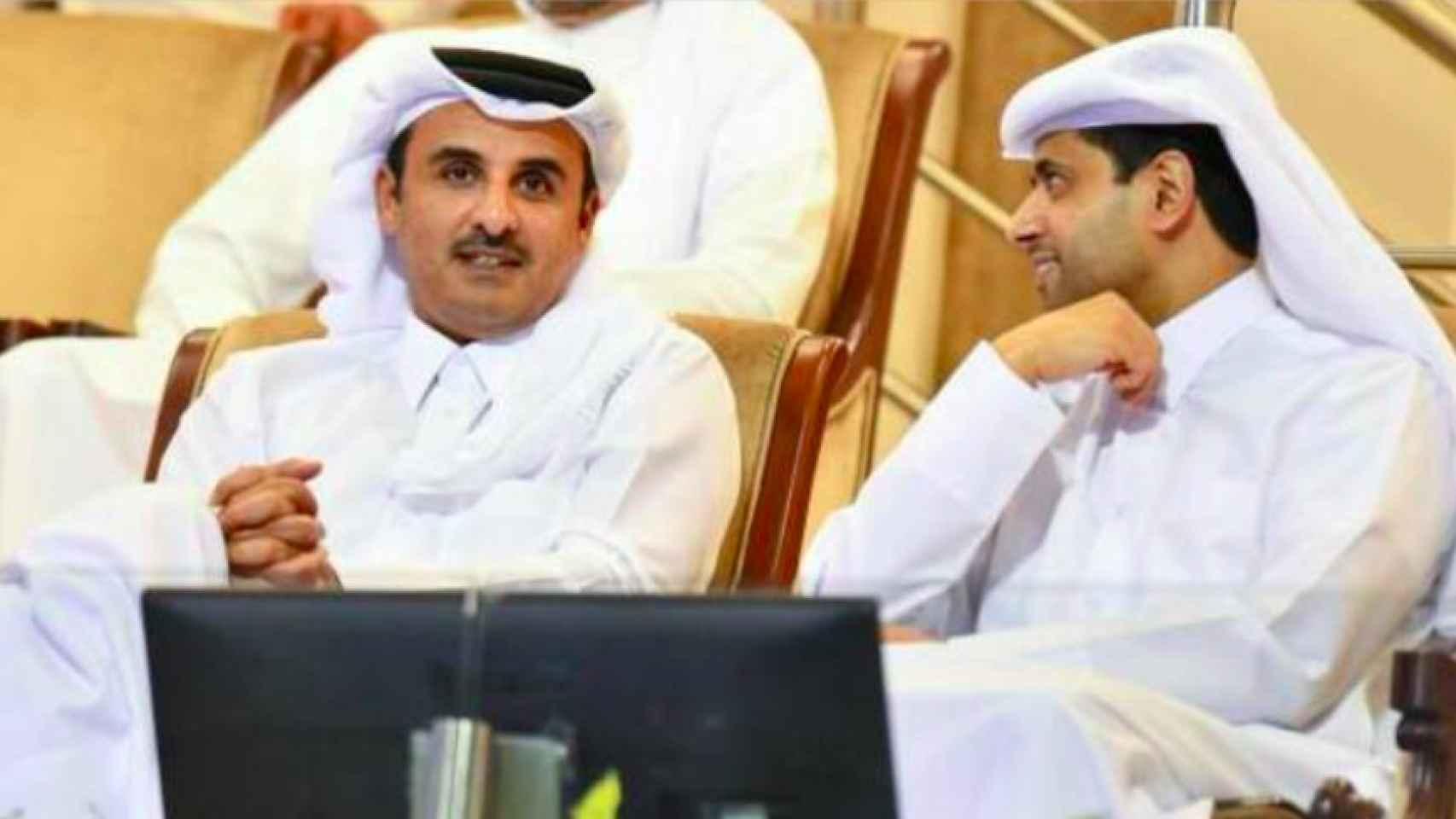 El emir de Catar y Nasser Al-Khelaifi