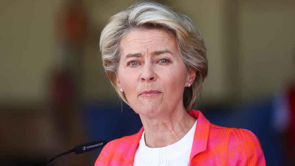 La presidenta de la Comisión Europea, Ursula Von der Leyen, durante su comparecencia.