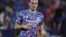 Gareth Bale, durante el calentamiento