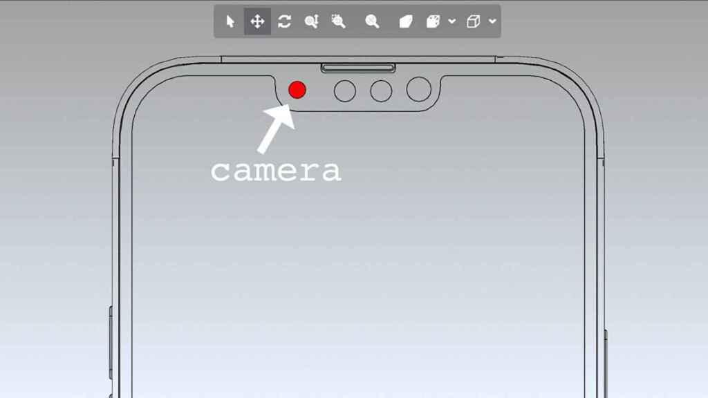 Prototipo di fotocamera in stile CAD di iPhone 13