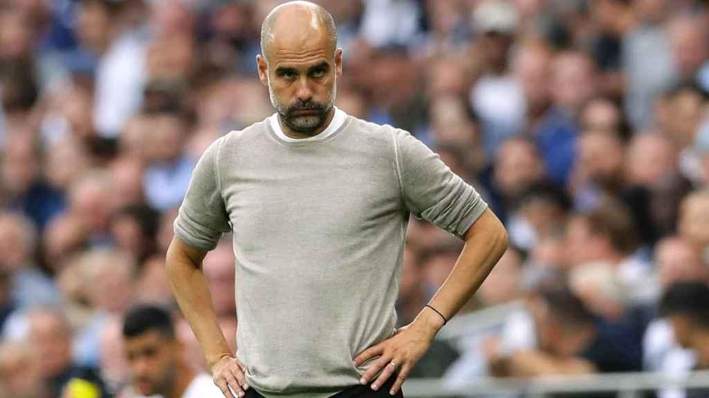 Pep Guardiola, en un partido del Manchester City de la temporada 2021/2022