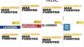Portadas de los diarios españoles con la campaña de publicidad 'Salimos más fuertes'.