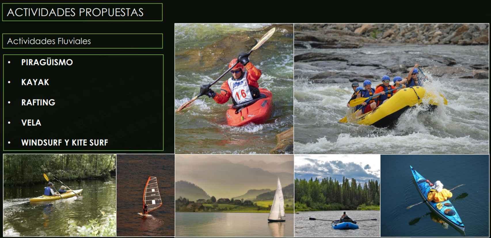 Algunos de los deportes náuticos previstos en el proyecto.