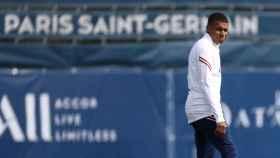 Kylian Mbappé, en un entrenamiento del PSG en la temporada 2021/2022