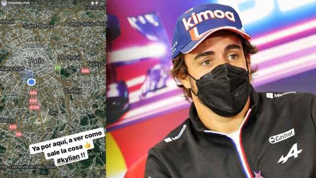 Fernando Alonso y su publicación en Instagram en un fotomontaje