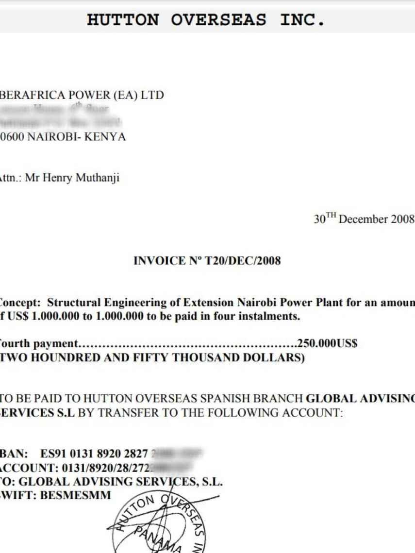 Una de las facturas abonadas por Iberafrica Power LTD a la sociedad panameña de José Herrero de Egaña, Hutton Overseas Inc.