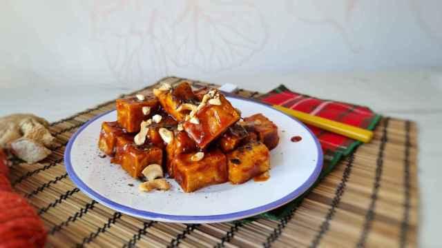 Tofu para los que no les gusta el tofu, con salsa barbacoa de miel