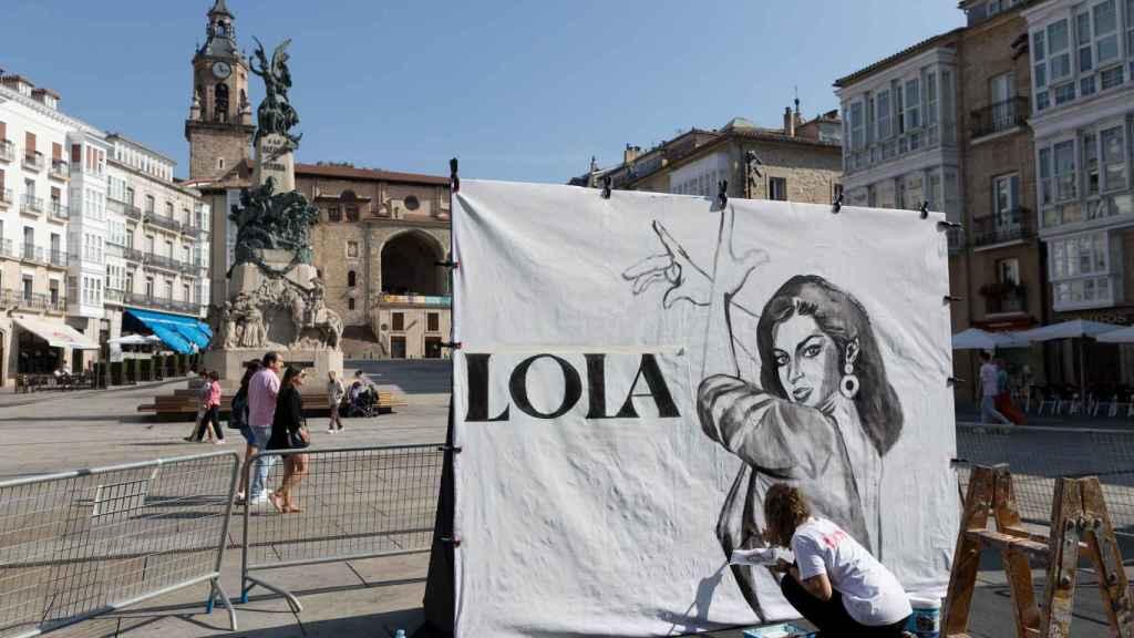 Un mural de Lola Flores en Vitoria.