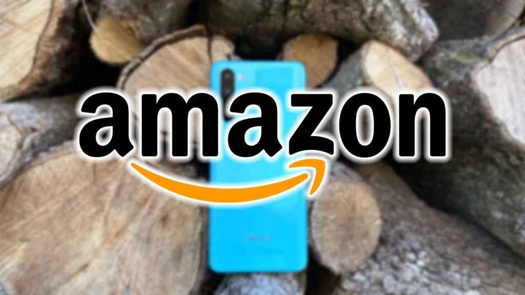 Logo de Amazon sobre un OnePlus Nord.