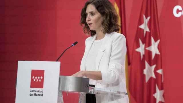 La presidenta de la Comunidad de Madrid, Isabel Díaz Ayuso, durante la rueda de prensa posterior a la reunión del Consejo de Gobierno.