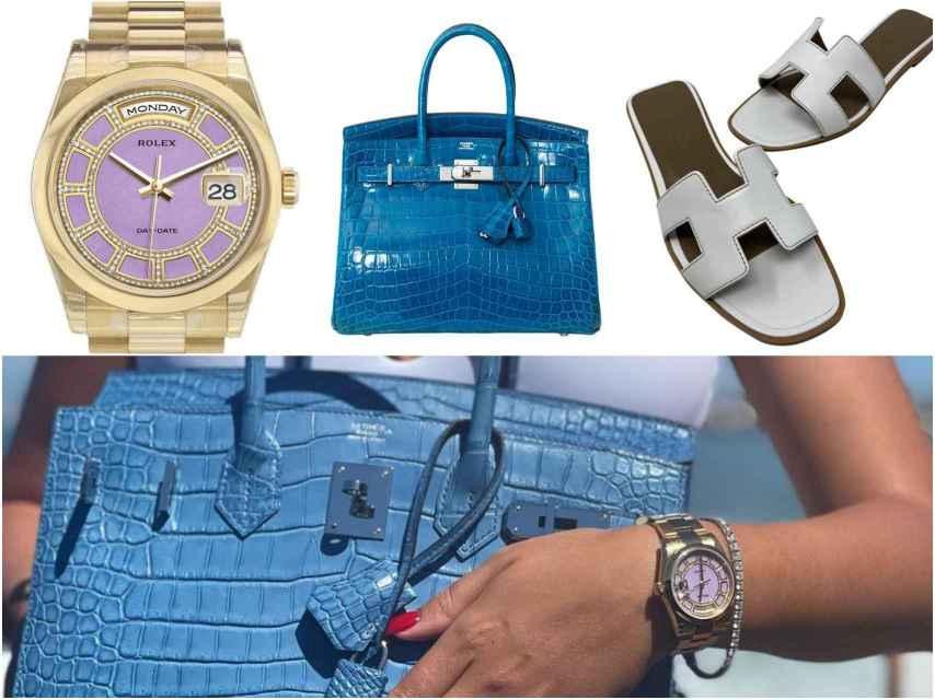 Reloj de Rolex y bolso y sandalias de Hermès.