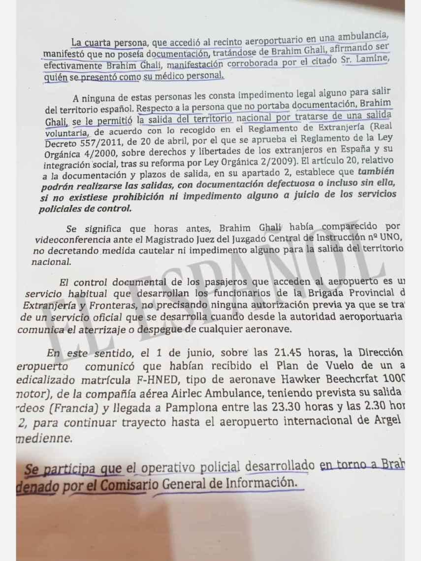 Fragmento del informe de la Jefatura Superior de Policía de Navarra.