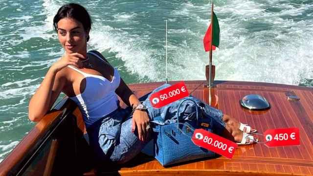 Georgina Rodríguez con bolso y sandalias de Hermès y reloj de Rolex.