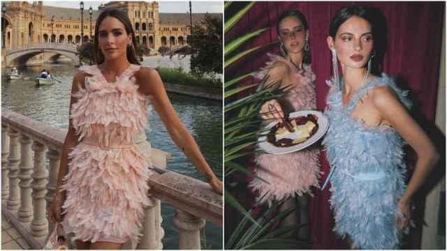 Rocío Osorno con vestido de plumas de su colección.
