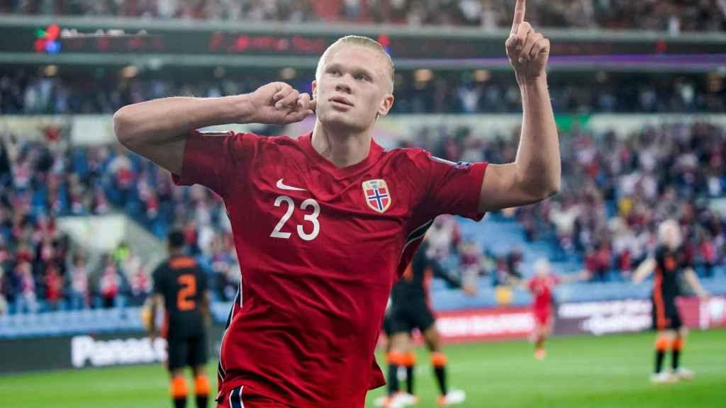 Erling Haaland, en un partido de la selección de Noruega