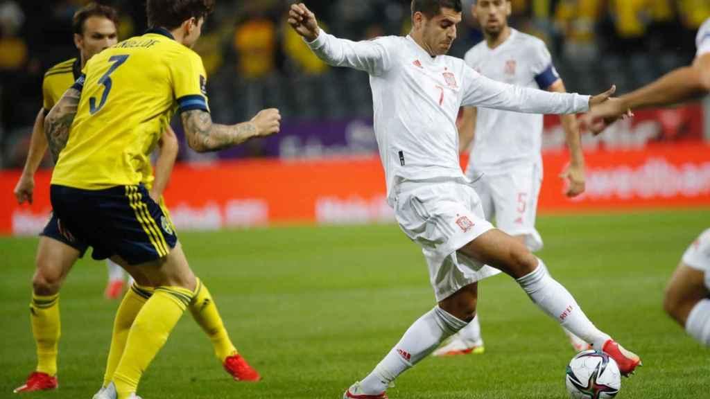 Álvaro Morata, en el Suecia - España de clasificación para el Mundial 2022