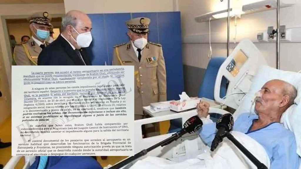 Ghali, en el hospital ingresado; a la izquierda, fragmento del informe aportado a la causa.