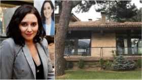 La presidenta de la Comunidad de Madrid, Isabel Díaz Ayuso, junto a la fachada de 'La Casita'.