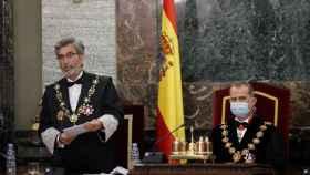 Felipe VI junto a Carlos Lesmes durante la celebración del acto de apertura del Año Judicial.