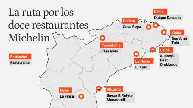 Estos doce restaurantes de Alicante acumulan dieciséis estrellas Michelin.