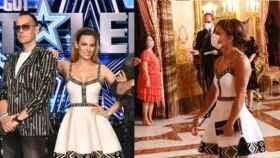 Edurne en enero y Sandra este mes de septiembre con un mismo vestido que realza la figura de ambas.