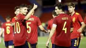 Los jugadores de España sub21 celebran un gol