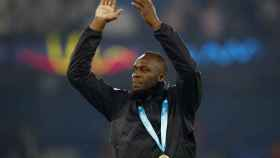 Usain Bolt tras un partido de exhibición