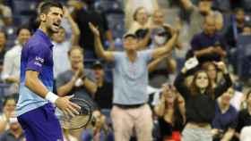Novak Djokovic celebra en el US Open