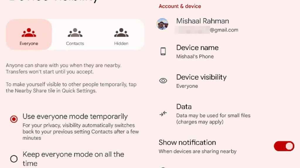 Visibilidad de los dispositivos con Nearby Share