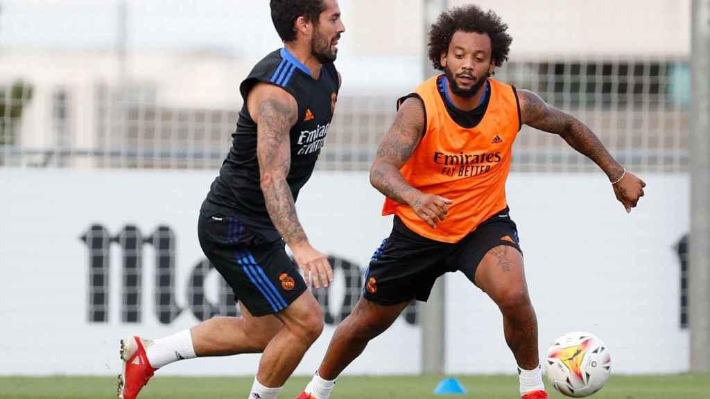 Isco Alarcón y Marcelo, durante un entrenamiento del Real Madrid