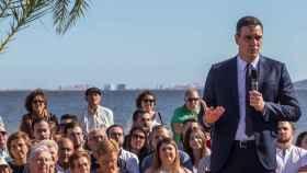 El secretario general del PSOE, Pedro Sánchez, en el mitin que ofreció en Los Alcázares en la campaña electoral de 2019.