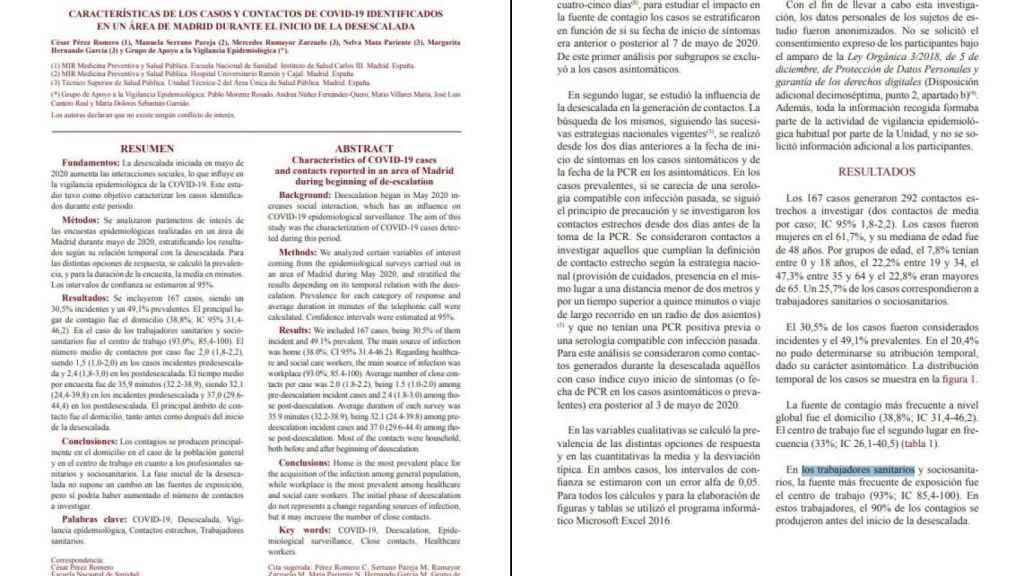Informe oficial de Sanidad sobre los contagios de sanitarios en su lugar de trabajo.