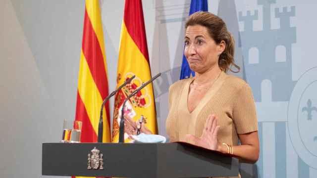 La ministra de Transportes, Raquel Sánchez, en rueda de prensa.