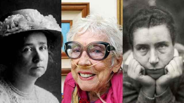 Por orden: Gabriele Münter, Margaret Keane y Lucia Moholy.