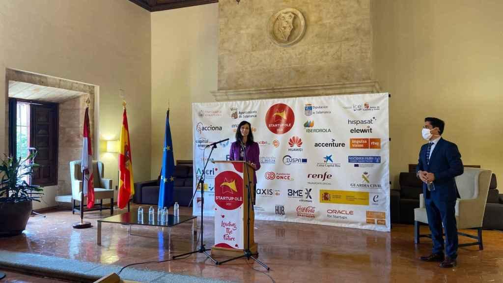 La comisaria europea de Innovación, Investigación, Cultura, Educación y Juventud, Mariya Gabriel, durante su participación en Startup Olé.