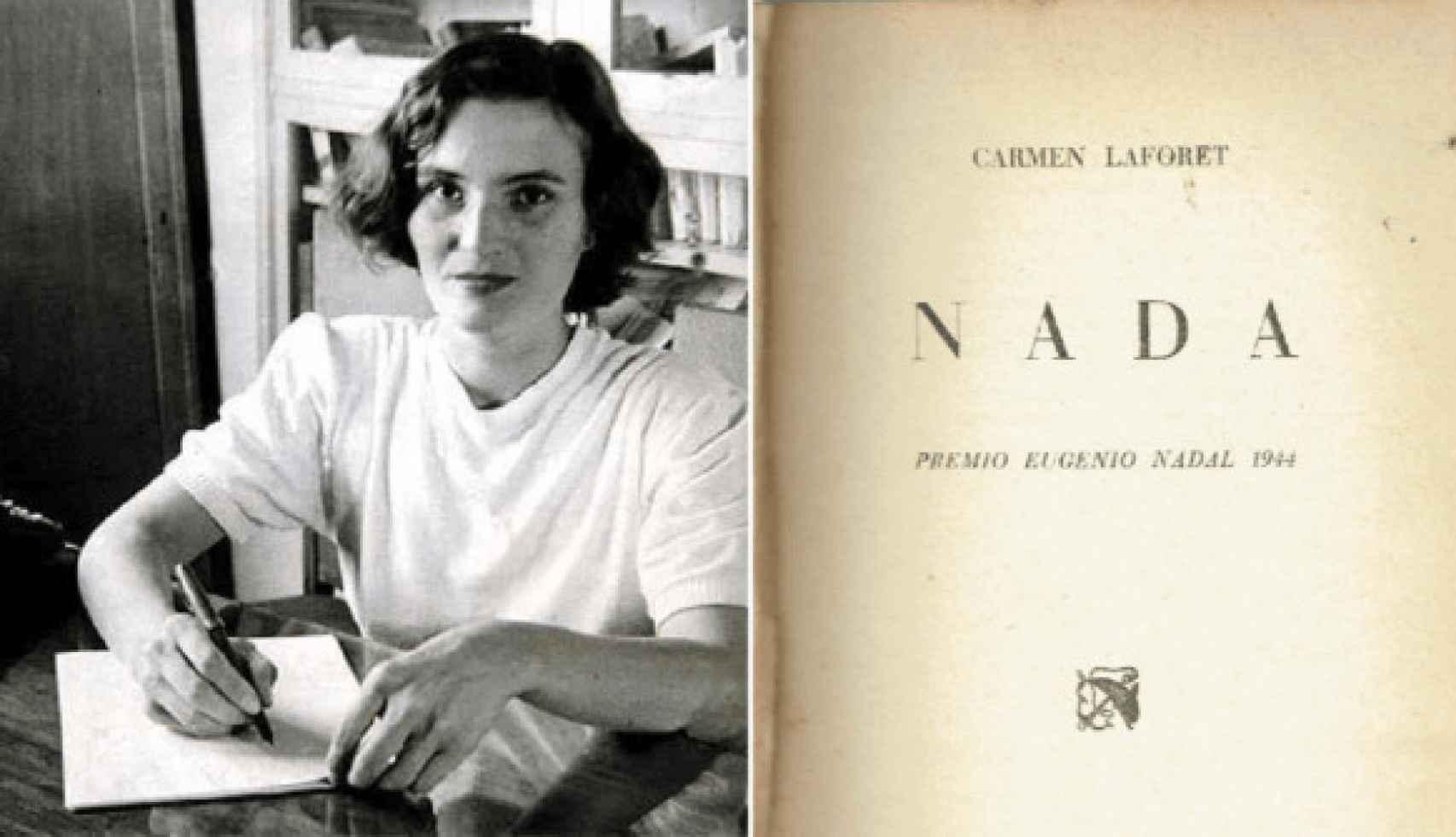 Una foto de Laforet junto a una imagen de la novela de 'Nada'.