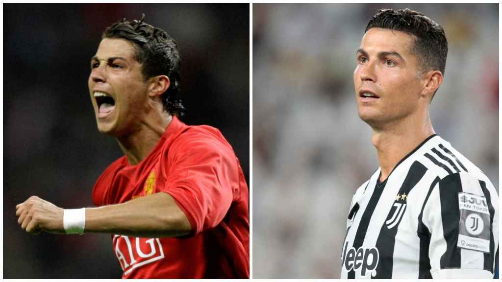 Cristiano Ronaldo, during his previous spell at Manchester (2003-2007), on the left.  On the right, during this 2021.