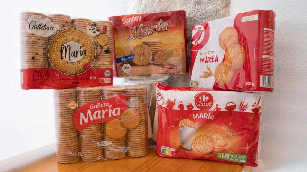 Los cinco paquetes de galletas María de marca blanca de los supermercados.