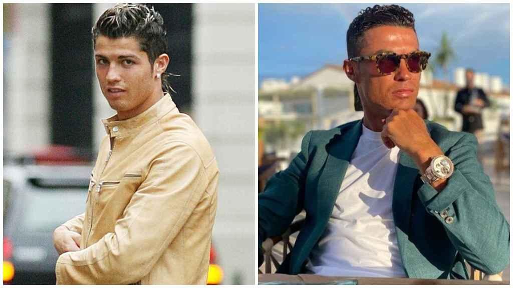 Cristiano Ronaldo, a la izquierda, en una imagen de 2007 y otra, a la derecha de la actualidad.