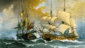 Combate de una fragata española contra el navío inglés Stanhope (ca. 1710), Ángel María Cortellini.